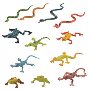 Reptilien-Set Frosch, Echse und Schlange (36 Stück/Einheit)